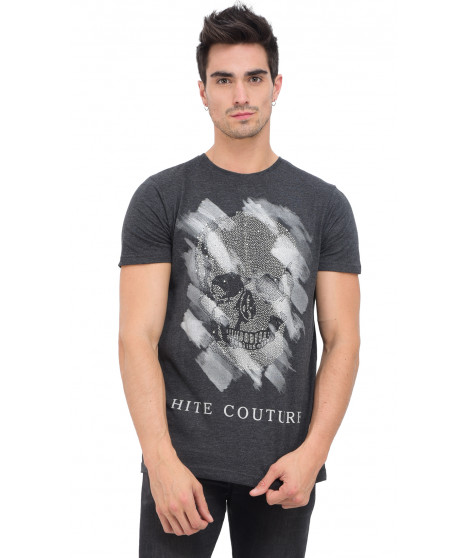 T-shirt col rond manches courtes MUCETIL ANTHRA MEL Anthracite