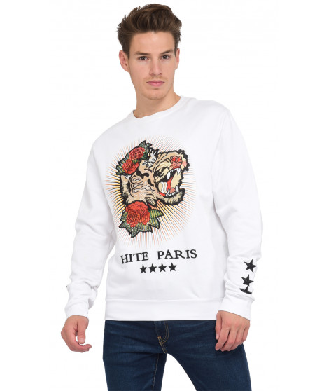 Sweat col rond manches longues ADIRER BLANC Blanc