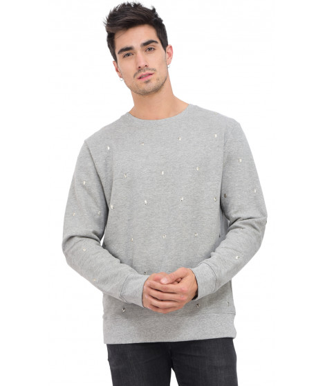 Sweat col rond manches longues AJILTER GREY MEL Gris
