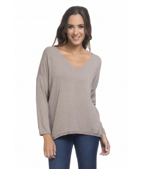 Pull manches longues col V PULL3698 Beige