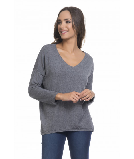 Pull manches longues col V PULL3698 Gris