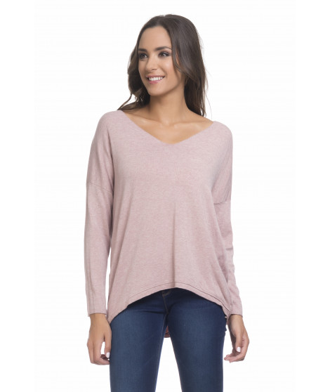 Pull manches longues col V PULL3698 Rose