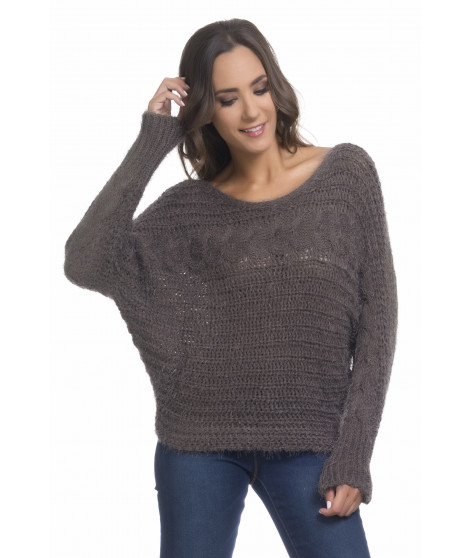 Pull manches longues chauve-souris PULL3716 Marron