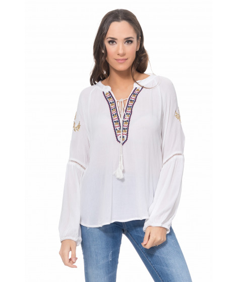 Blouse avec broderie 2413 Blanc / Or