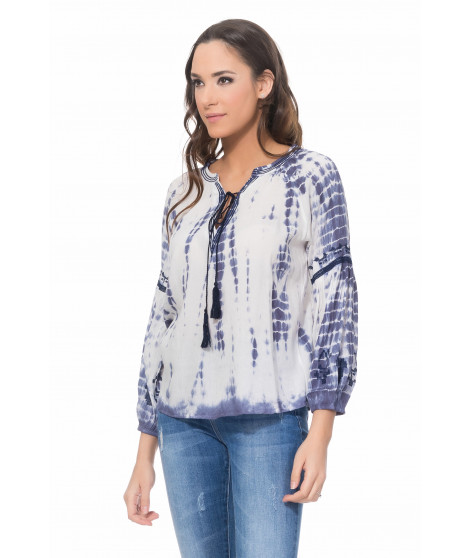 Blouse tie and dye 2415 Bleu marine