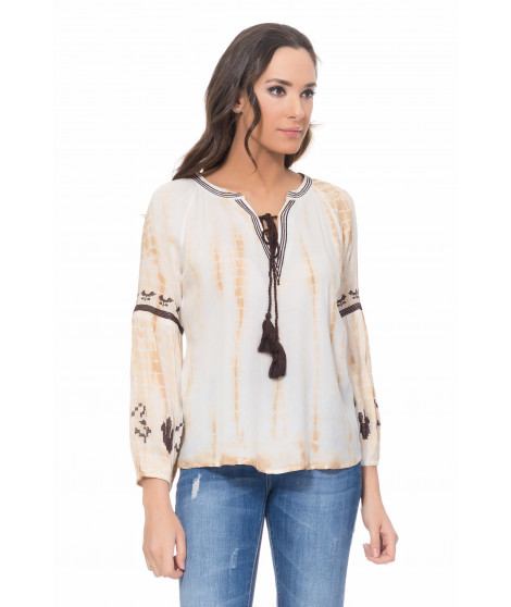 Blouse tie and dye 2415 Beige