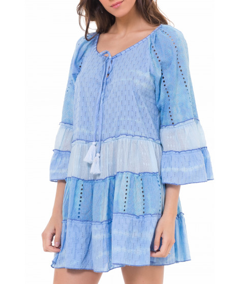 Robe tunique avec volant DRESS3941 Bleu