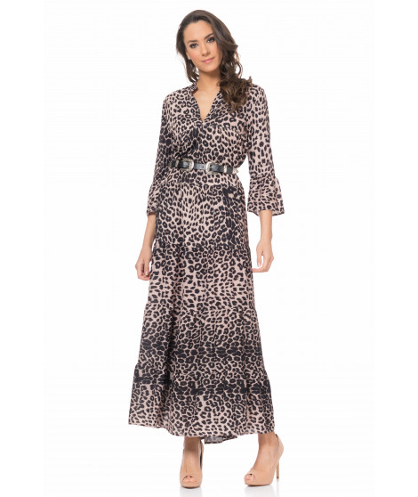 Robe longue imprimé camouflage DRESS3966 Marron
