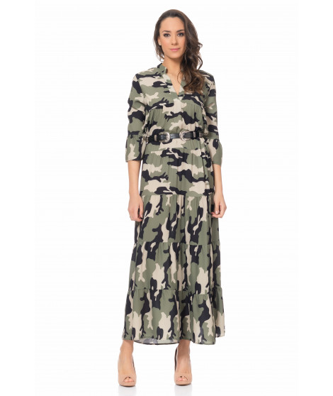 Robe longue imprimé camouflage DRESS3966 Kaki