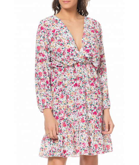 Robe imprimé fleuri DRESS3970 Blanc / Rose