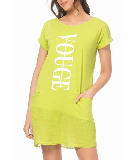 Robe t-shirt imprimé DRESS4019 Vert