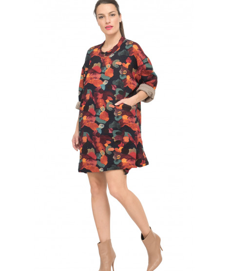 Robe courte imprimée A393-H2859 Orange / Multicolore
