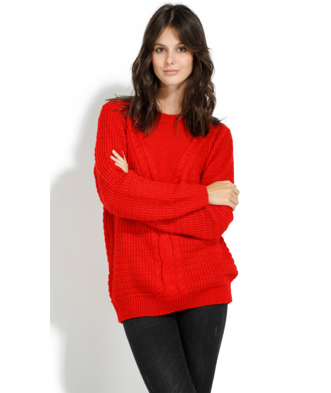 Pull en cachemire col rond 1247029 Rouge