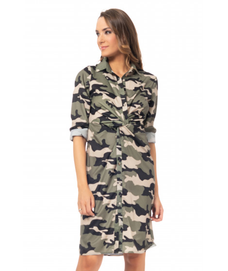 Robe chemise imprimé camouflage DRESS4043 G Sapin