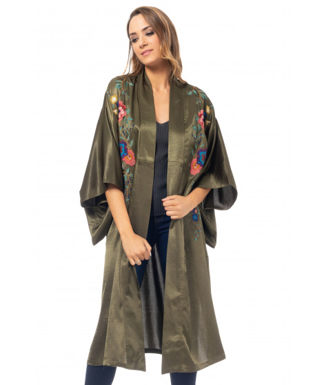Kimono broderies florales manches mi-long COAT4062 Sapin