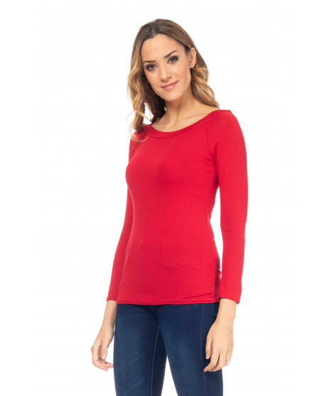 Tee-shirt col bateau manches longues TOP4170 Rouge