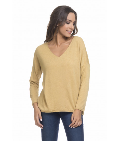 Pull manches longues col V PULL3698 Moutarde