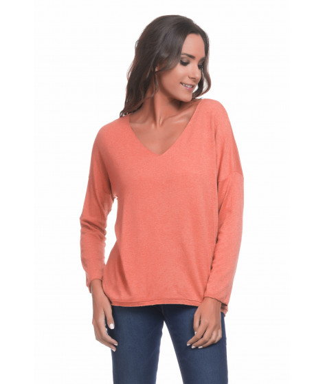 Pull manches longues col V PULL3698 Orange