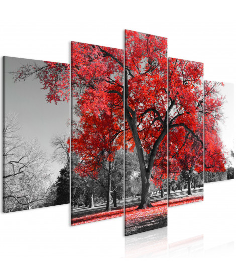 Tableau - Autumn in the Park (5 Parts) Wide Red