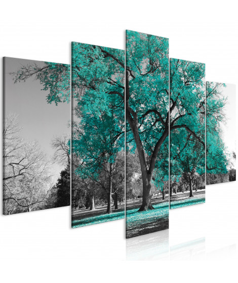 Tableau - Autumn in the Park (5 Parts) Wide Turquoise