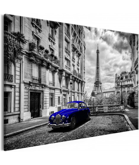 Tableau - Car in Paris (1 Part) Blue Wide