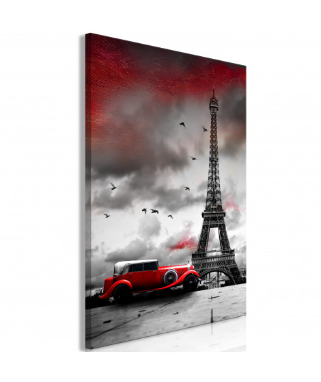 Tableau - Red Car in Paris (1 Part) Vertical