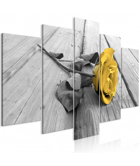 Tableau - Rose on Wood (5 Parts) Wide Yellow