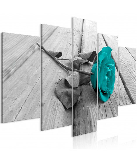Tableau - Rose on Wood (5 Parts) Wide Turquoise