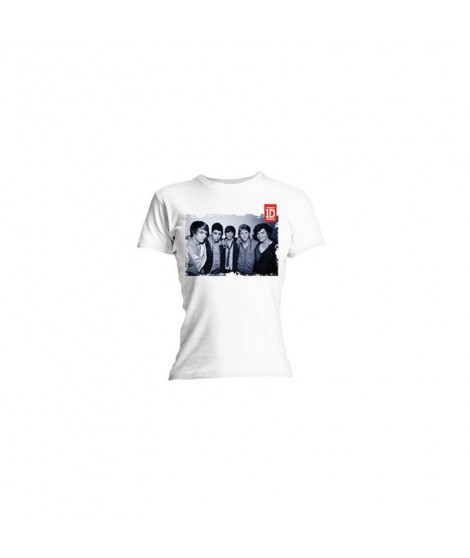 T-shirt femme blanc ONE DIRECTION Black  et  White