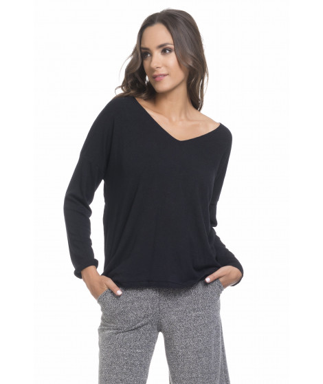Pull manches longues col V PULL3698 Noir
