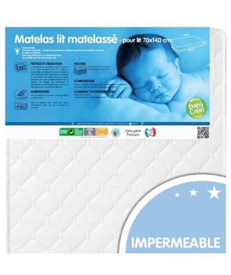 BABYCALIN Matelas Lit Bébé Matelassé - 70x140x10 cm avec Housse
