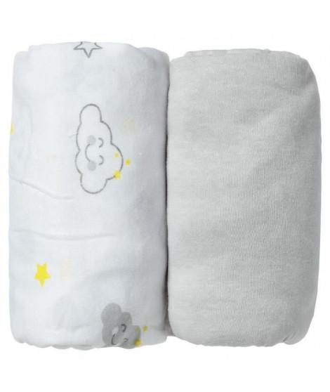 BABYCALIN Lot de 2 draps housse 60x120x15cm Nuage/gris