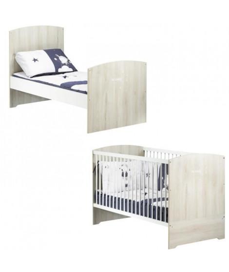 BABYPRICE  Lit Bébé Évolutif Little Big Bed Smile Hetre Cendré 140x70 cm