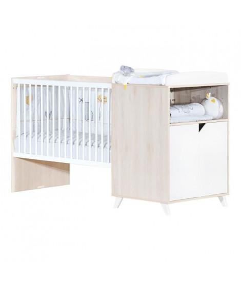 Babyprice - SCANDI NATUREL - Lit Combiné Evolutif 120x60 en 90x190