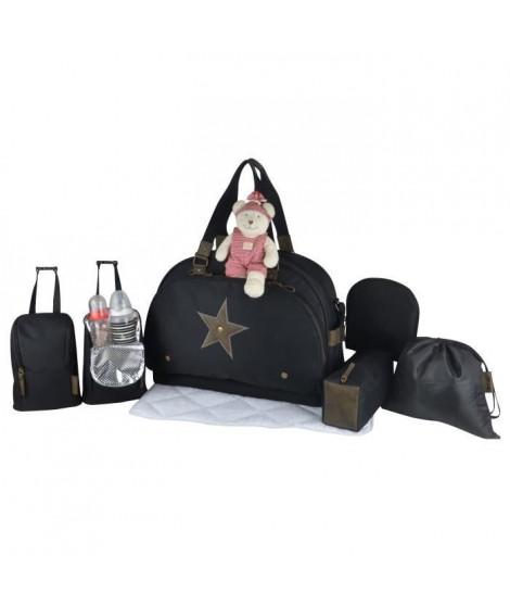 Baby on board -sac a langer - week end team éclipse - sac de voyage bébé  - noir détails cuir kaki sac grand format adapte au…