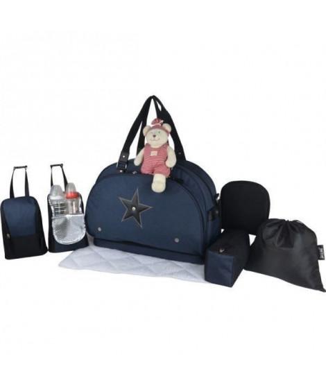 Baby on board- sac a langer - week end team moonlight - sac de voyage bébé - Chiné marine détails cuir noir sac grand format …