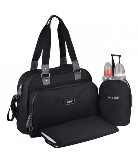 Baby on board- sac a langer - sac urban classic black - 2 compartiments a large ouverture zippée - 7 poches - sac repas - tap…