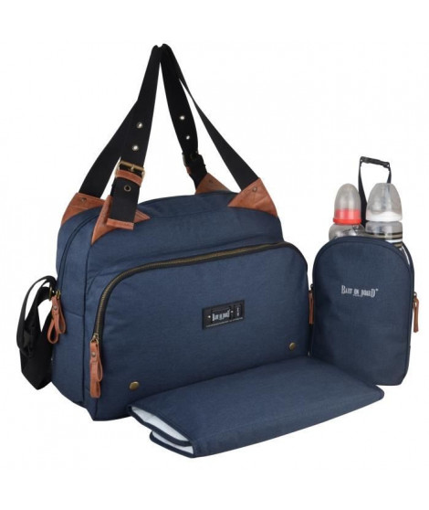 Baby on board-sac a langer -sac titou bleu denim - 2 compartiments 8 poches - sac repas - tapis a langer sac linge sale attac…