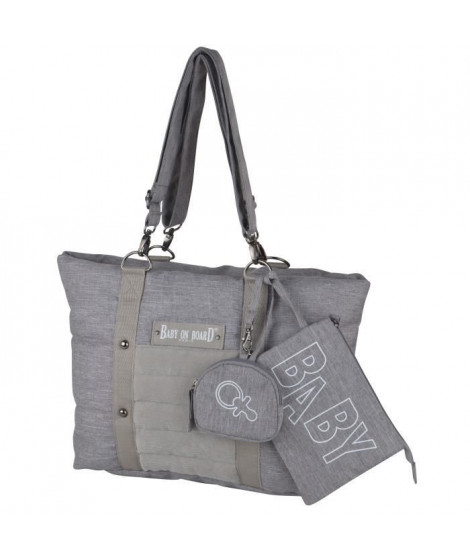 Baby on board -sac a langer - sac citizen stone chiné- format compact - compartiment central avec 4 poches - grand compartime…