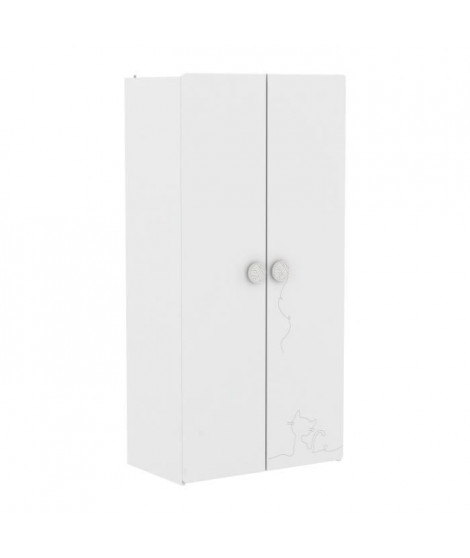 MISTIGRI 261536 Armoire de chambre - 2 portes - Blanc mat et gris clair