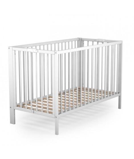 AT4 Lit bébé Pliant Laqué Blanc 60x120 cm