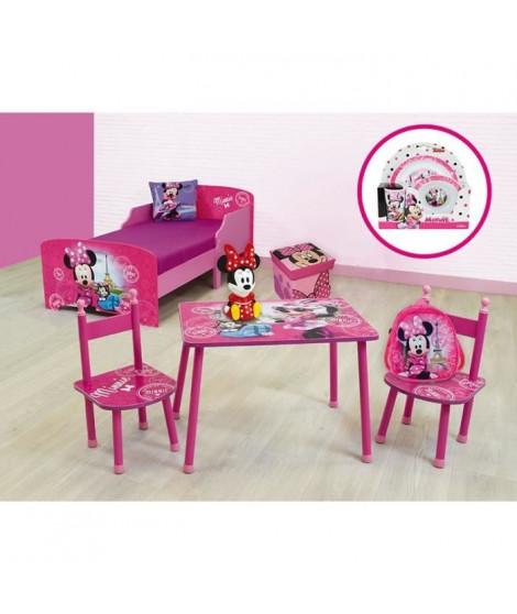 Fun House Disney Minnie pack chambre comprenant un lit 140 x 70 cm, un banc de rangement, une table avec 2 chaises, un tapis,…