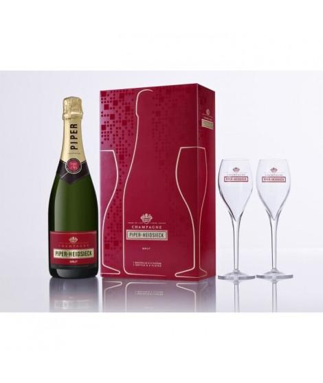 Champagne Piper-Heidsieck Cuvée Brut 12° 75 cl avec coffret 2 flûtes
