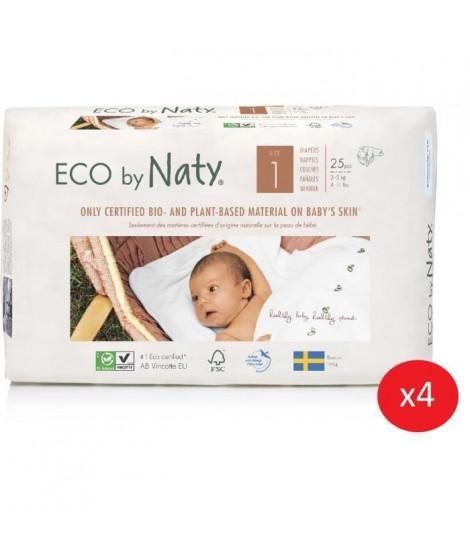 NATY - Lot de 4 paquets de couches Taille 1 Nouveau né 2-5 kg 25 pcs