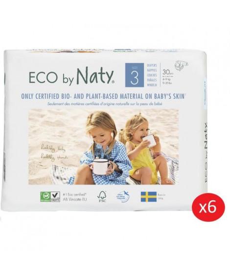 NATY - Lot de 6 paquets de couches Taille 3 Midi 4-9 kg 30 pcs