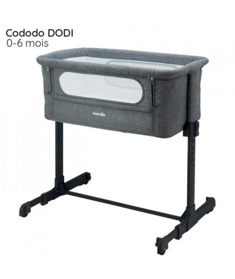 NANIA Lit Cododo gris réglable 5 hauteurs possibles - matelas 4 cm