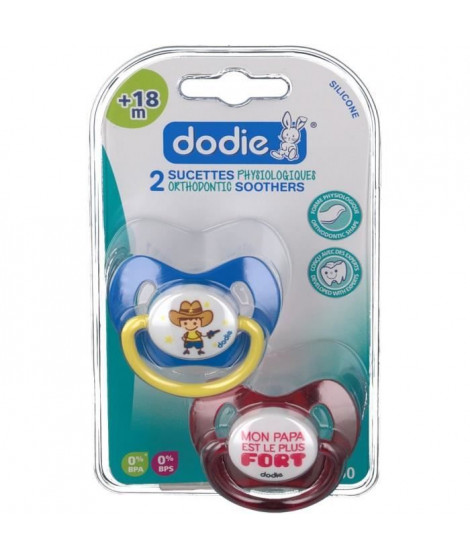 DODIE Sucette Physiologique +18 mois Duo Pirate / Cowboy (lot de 2)