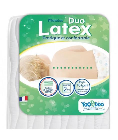 YOOPIDOO Matelas bébé Duo Latex - Double confort - Respirant - Fabrication française - 60 x 120 x 12 cm