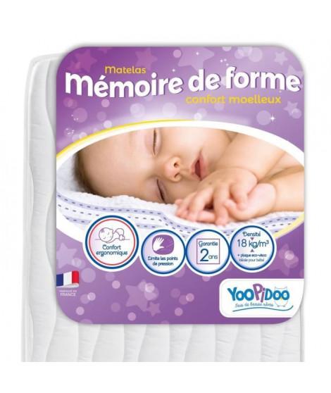 YOOPIDOO Matelas bébé Mémoire de forme - ergonomique - Fabrication française - 60 x 120 x 12 cm