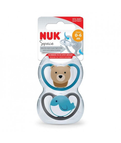 NUK 2 Sucettes SPACE 0-6m Baleine/Ours